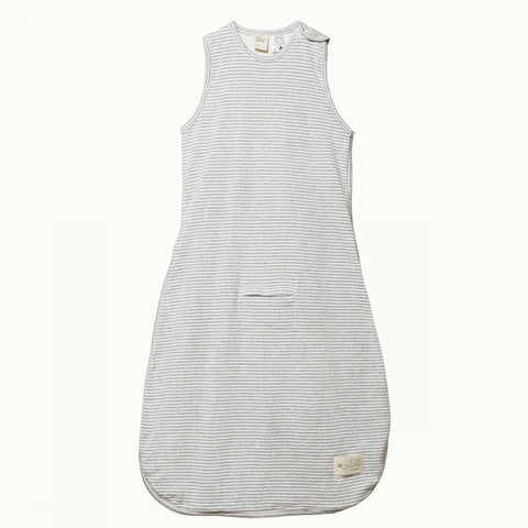 Nature Baby Organic Cotton Sleeping Bag Grey Marle Stripe 0-24M