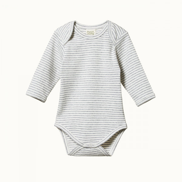 Nature Baby L/S Cotton Bodysuit - Grey Marl Stripe