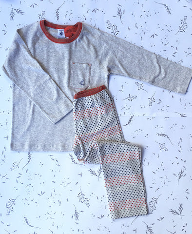 Petit Bateau 2 Piece Winter Pyjama with Star Pants