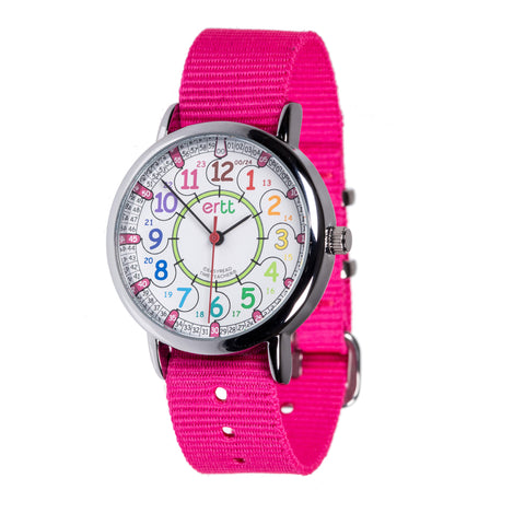 EasyRead Time Teacher Past/To Watch Rainbow with Pink Strap