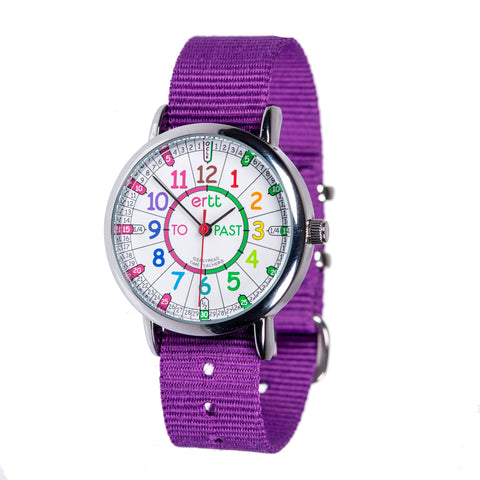 EasyRead Time Teacher Past/To Watch Rainbow with Purple Strap