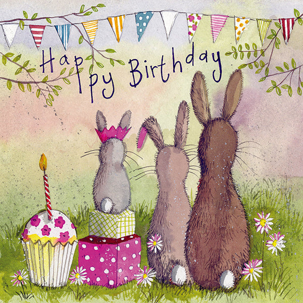Alex Clark Art Rabbit Family Birthday Card