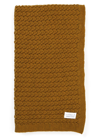 Uimi Bellamy Basket Weave Merino Blanket. Size: Bassinet. Colour: Cinnamon