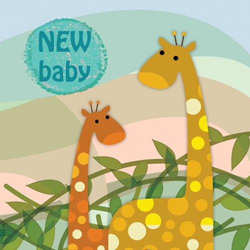 Skyes the LImit Collectables Baby Beauties Giraffes New Baby Gift Card