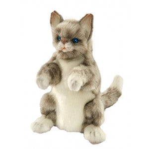 Hansa Snow Grey Cat Hand Puppet 30cm