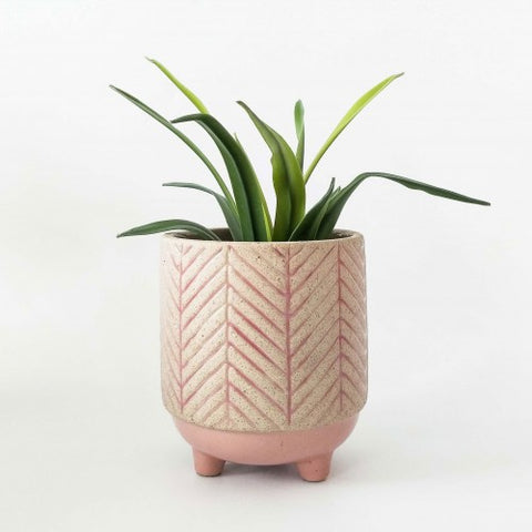 Urban Kyra Stripe Planter with Legs: Pink Small