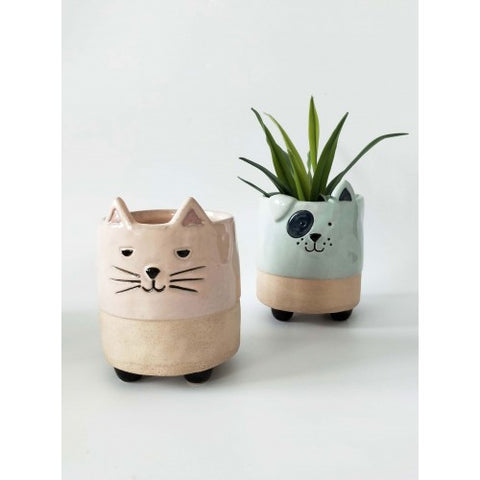 Urban Cat Planter with Legs: Pink Sand