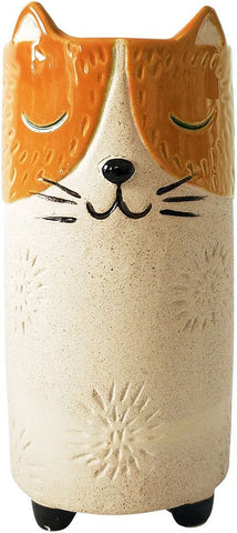 Urban Cat Vase: Orange and Sand 18cm