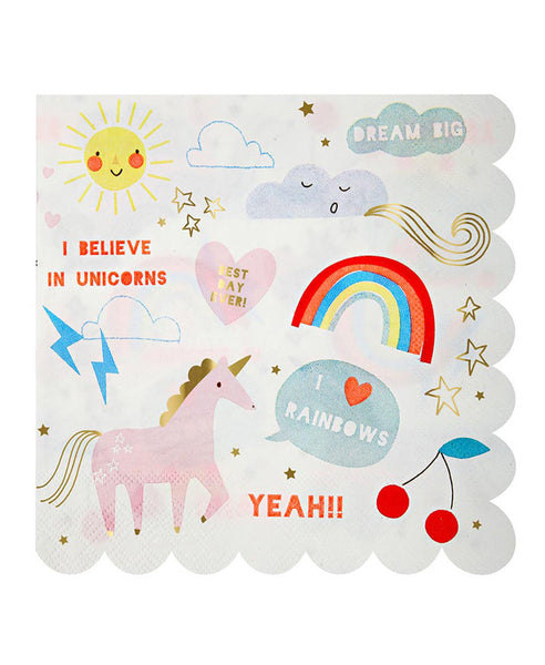 Meri Meri Unicorn Napkins Large 20Pk