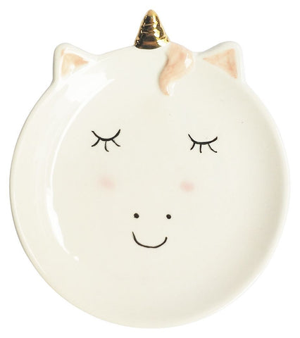Urban French Unicorn Trinket Dish Small White
