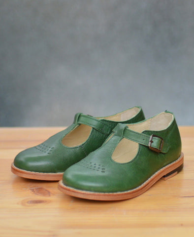 Young Soles Dottie T-Bar Pea Green