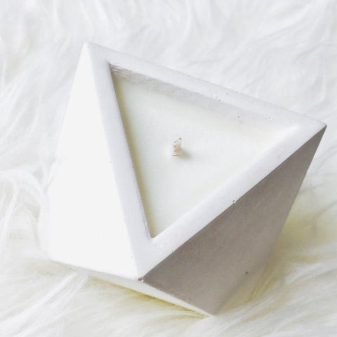 White Pyramid Pot Candle