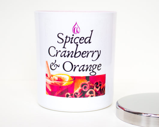 Spiced Cranberry & Orange Candle - White Gloss With Metal Lid