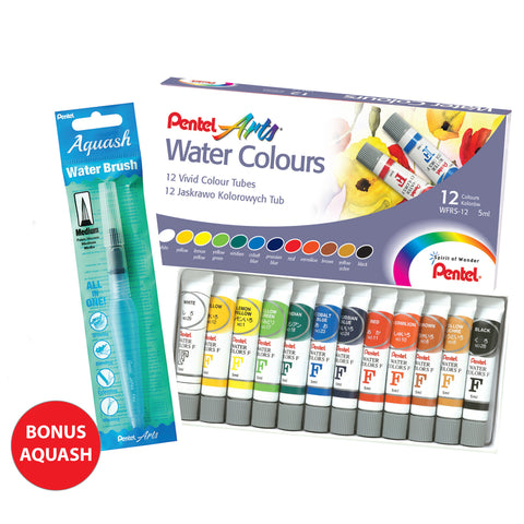 Pentel Watercolour Paints 5ml 12 Pack - YWFRS-12 with Bonus Aquash Water Brush Medium Tip