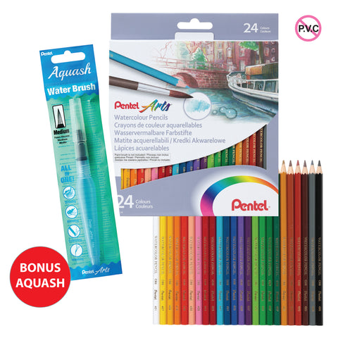 Pentel Watercolour Pencils 24 Pack - YCB9-24 with Bonus Aquash Water Brush Medium Tip