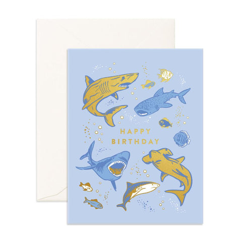 Happy Birthday Sharks Greeting Card - Min. of 6 per style