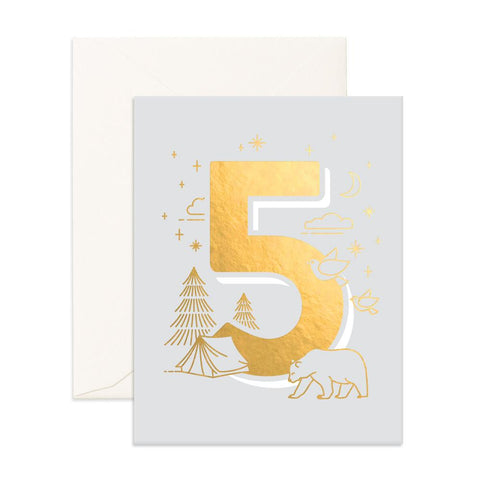 No. 5 Animals Greeting Card - Min. of 6 per style