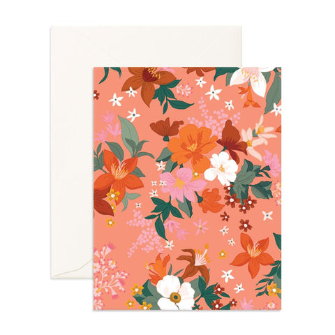 Bohemia Peach Florals Greeting Card - Min. of 6 per style