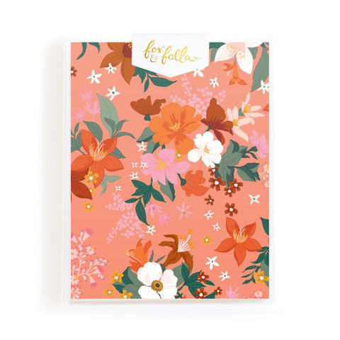 Bohemia Peach Florals Greeting Card Boxed Set - Min. of 4 per style