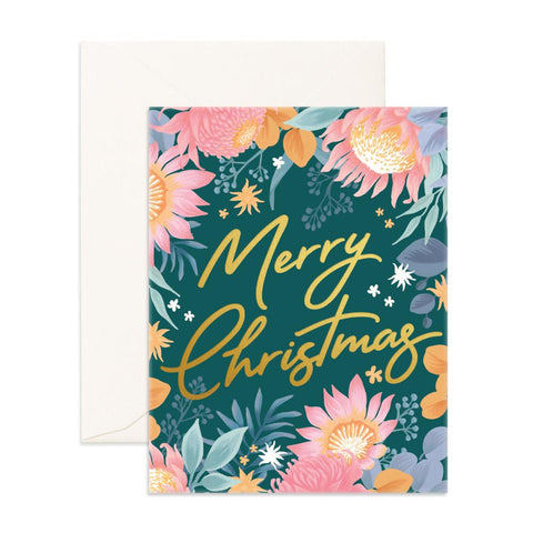 Merry Christmas Floribunda Greeting Card