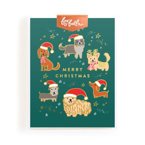 Christmas Dogs Foil Greeting Card Boxed Set