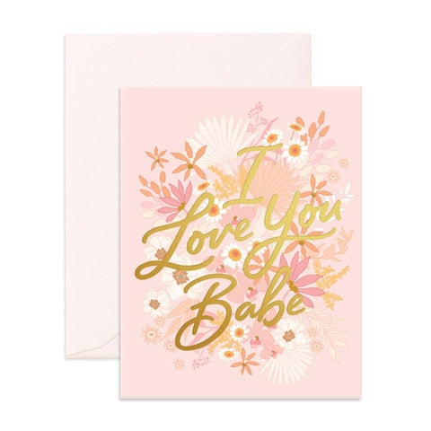 Love You Babe Floribunda Greeting Card - Min. of 6 per style
