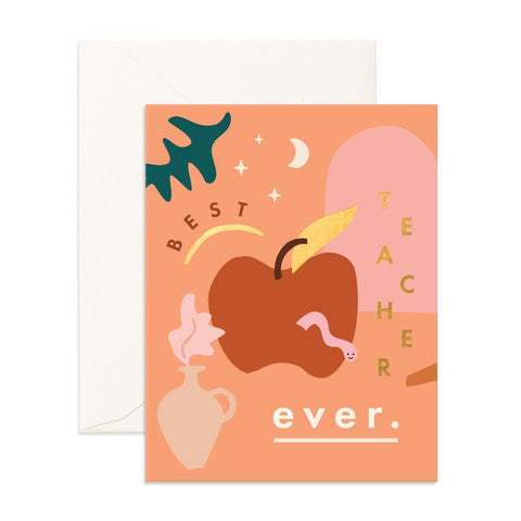 Best Teacher Ever Greeting Card - Min. of 6 per style