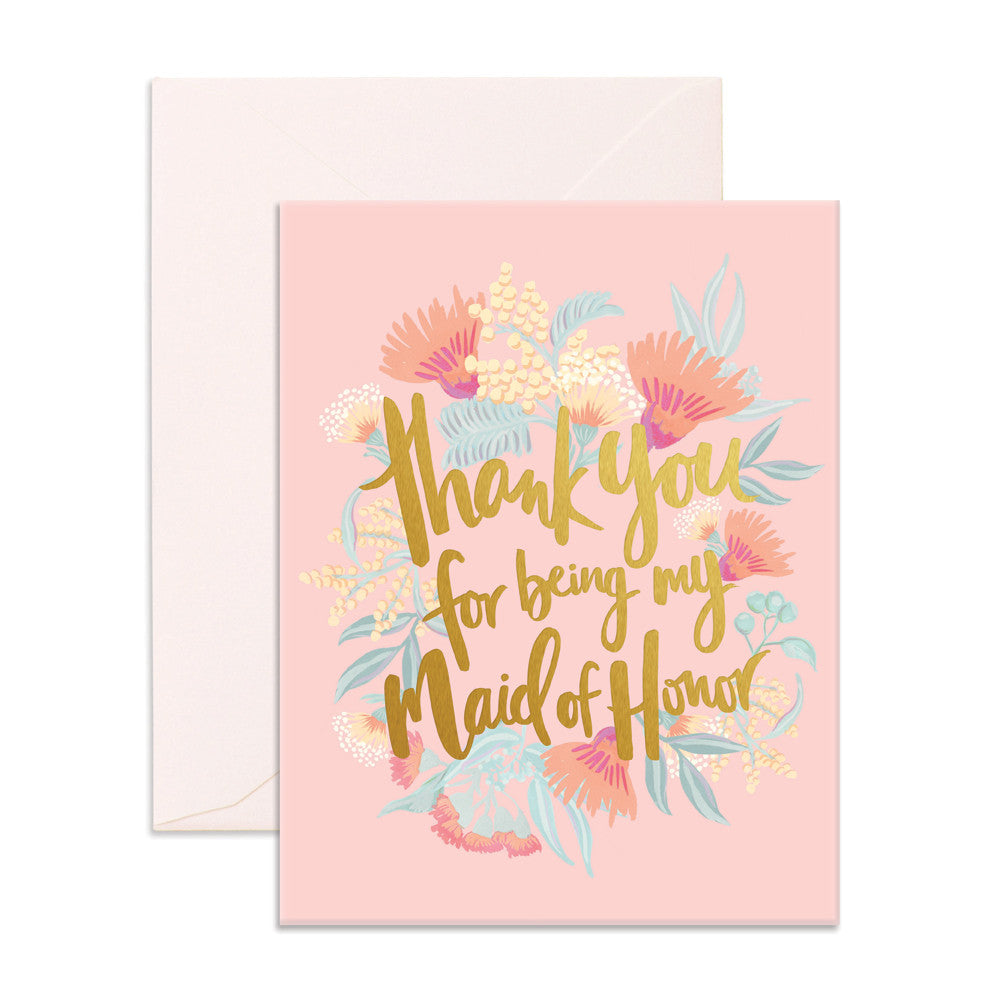 Thank You For Being My Maid Of Honor Greeting Card Fox Fallow