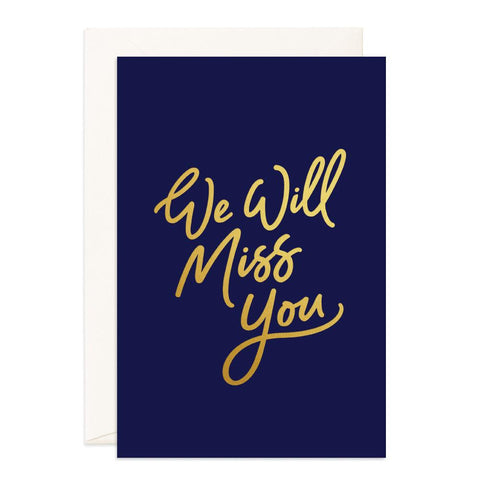 Miss You Navy Jumbo Greeting Card