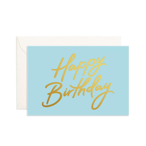 Happy Birthday Aqua Mini Greeting Card