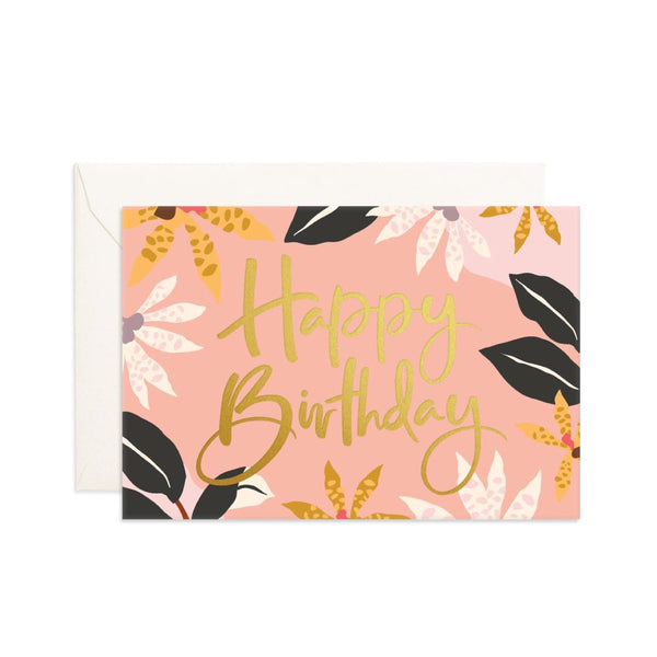 Happy Birthday Orchids Mini Greeting Card