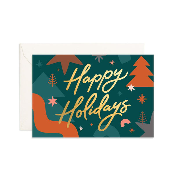 Happy Holidays Abstract Mini Greeting Card