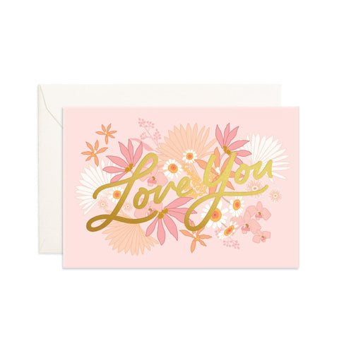 Love You Floribunda Mini Greeting Card - Min. of 6 per style