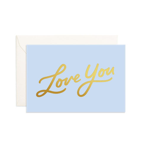Love You Blue Mini Greeting Card