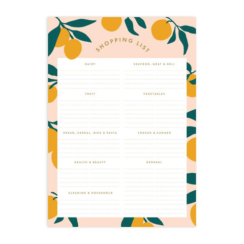 Lemons A5 Shopping List Magnet Notepad