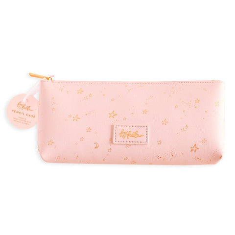 Pink Stardust Vegan Leather Pencil Case
