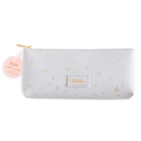 Grey Stardust Vegan Leather Pencil Case