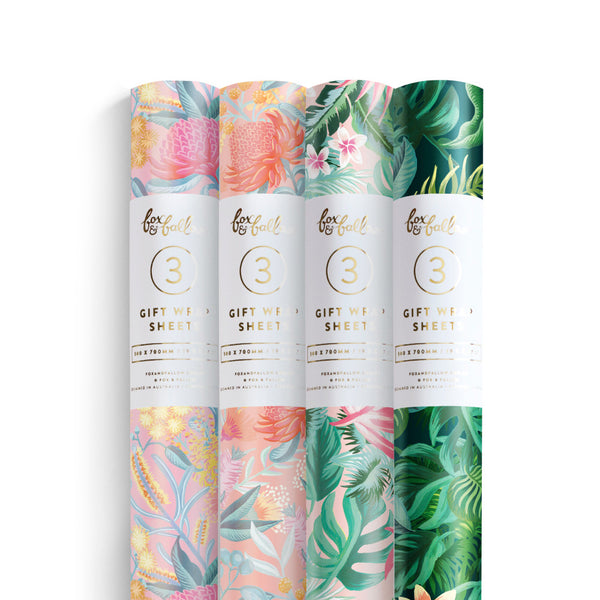 Spring Gift Wrap Pack - 4 Rolls of 3 Sheets