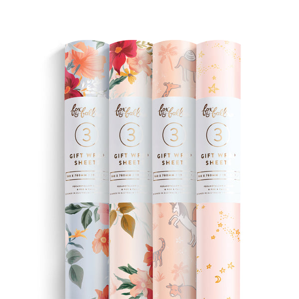 Florentine/Sweet Dreams Gift Wrap Pack - 4 Rolls of 3 Sheets