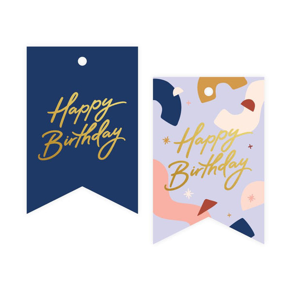 Birthday Blue Abstract Foil Gift Tag Pack