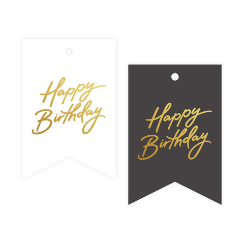 Birthday Grey/White Foil Gift Tag Pack