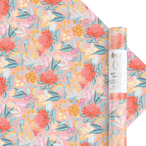 Wattle Gift Wrap - 3 Rolls of 3 Sheets