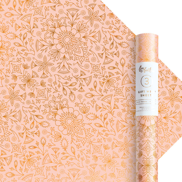 Moroccan Peach Gift Wrap - 3 Rolls of 3 Sheets - PRE-ORDER - AVAILABLE EARLY JULY