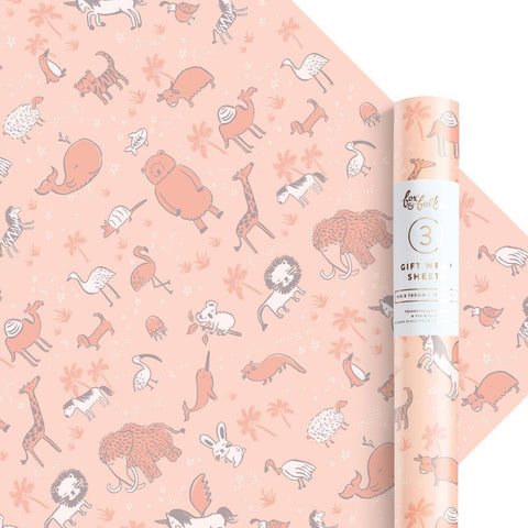 Baby Animals Gift Wrap - 3 Rolls of 3 Sheets
