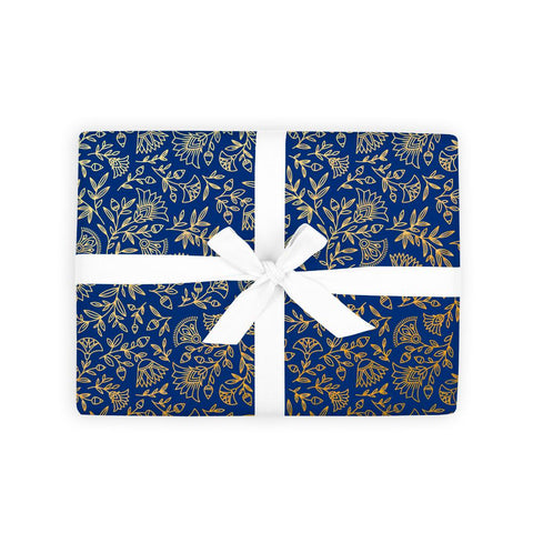 Navy Amulet Gift Wrap 6 Flat Sheets