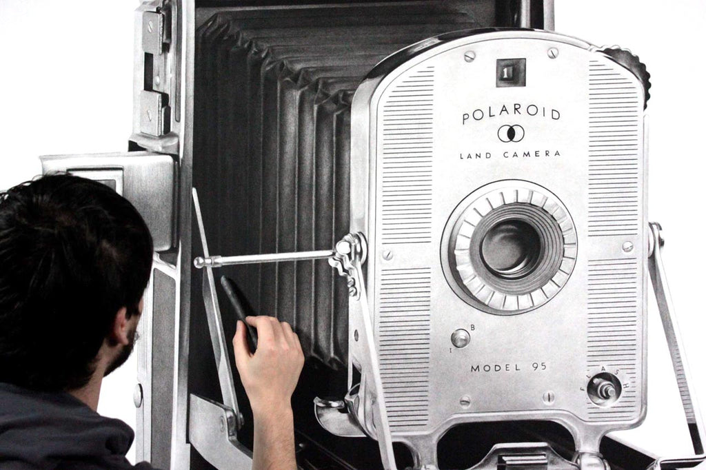 Brad Lawrence Polaroid Camera Charcoal Drawing Detail