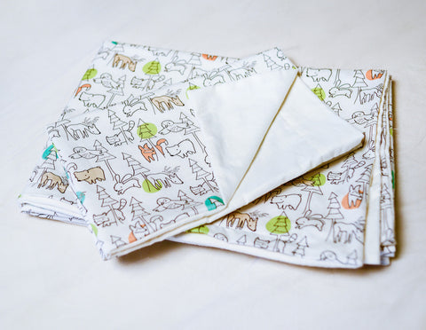 Organic Baby Pillow Case with Forest Animals