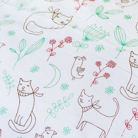 Organic Duvet Cover with Kitty - Crib and Twin