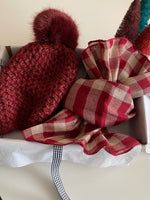 Load image into Gallery viewer, Pom Pom Beanie & Gingham Scarf