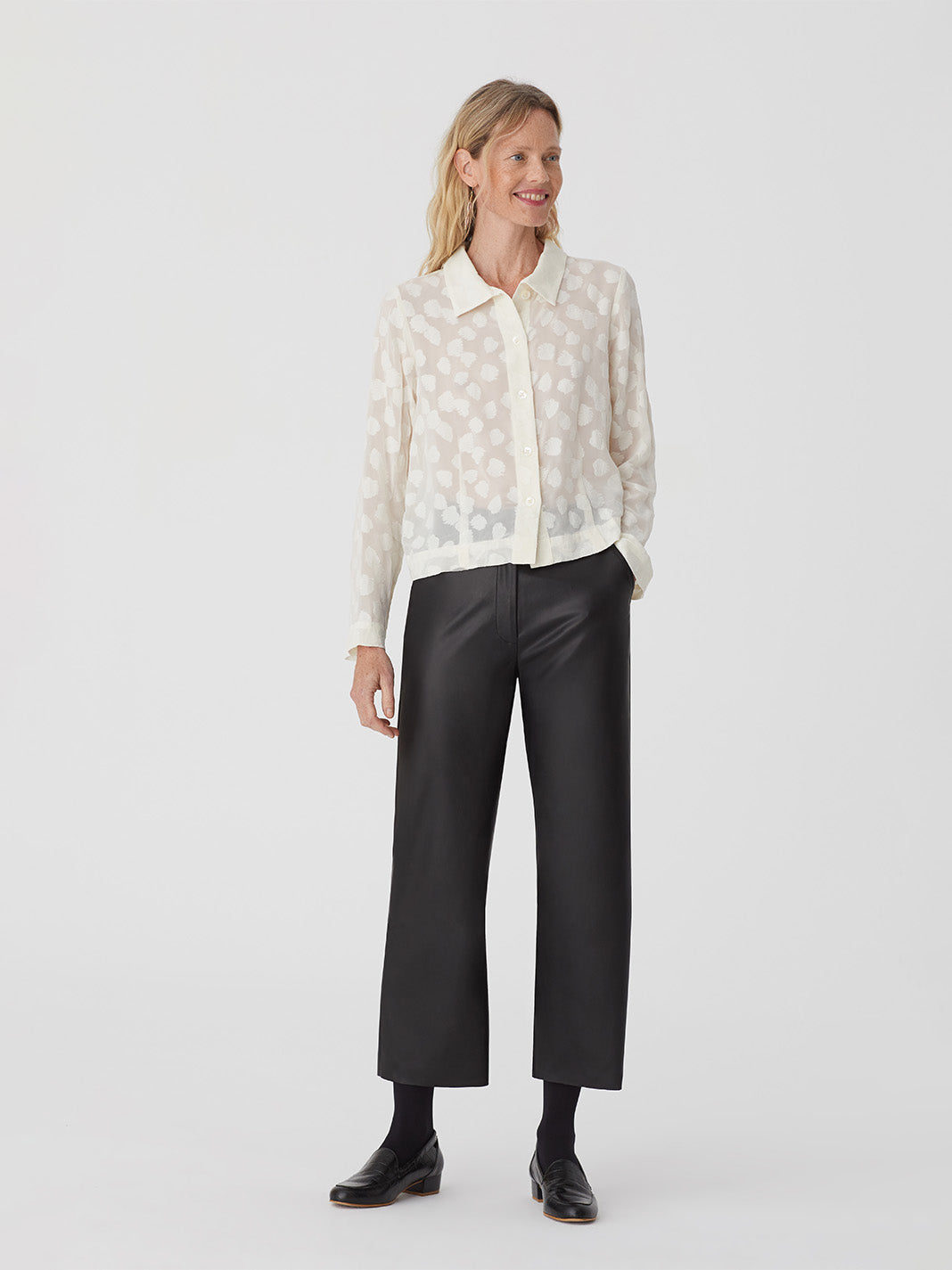 Nice Things Leaf Jacquard Blouse